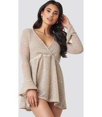 trendyol lurexli beach dress - beige
