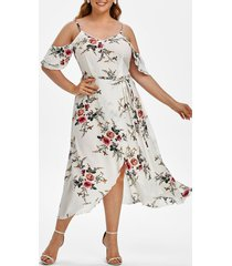 plus size floral tulip hem cold shoulder dress
