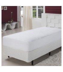 lençol solteiro com elástico 233 fios algodão branco plumasul