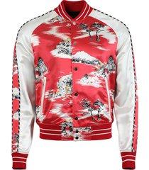 hawaiian bomber jacket, red
