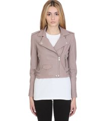 iro ashville leather jacket in beige leather