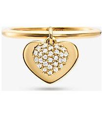 mk anello con cuore in argento sterling con placcatura in metallo prezioso e pavé - oro (oro) - michael kors