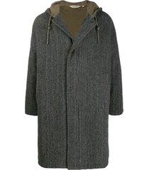 aspesi woven-print hooded coat - grey