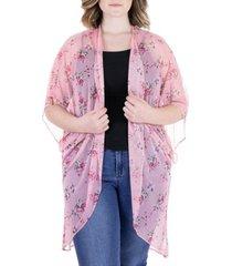 plus size floral print sheer circle cardigan