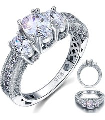 925 sterling silver wedding engagement ring vintage style created diamond