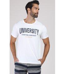 camiseta estampada university manga curta gola careca off white