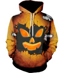 halloween ghost face graphic pullover drawstring hoodie