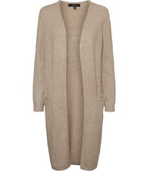 women's vero moda doffy open front long cardigan, size medium - beige
