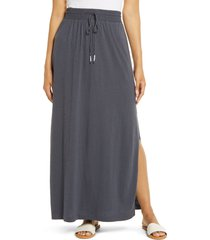 women's caslon drawstring knit maxi skirt, size x-small - grey