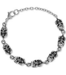 inc men's stainless steel skull bracelet, created for macy's