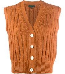 jejia sleeveless rib-knit cardigan - orange