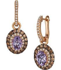 le vian women's chocolatier® 14k strawberry gold®, amethyst, chocolate diamond® & vanilla diamond® drop huggie earrings