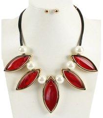 collar rojo con perlas acl-13244