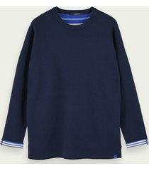 scotch & soda reversible cotton-blend crew neck pullover
