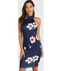 yoins azul marino con estampado floral al azar y espalda con cuello halter vestido
