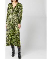 ganni women's silk stretch satin dress - lime tiger - eu 40/uk 12