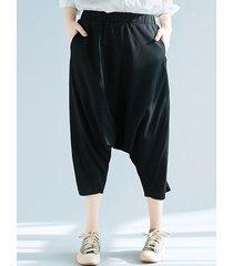 pantaloni harem da donna in puro cotone elastico