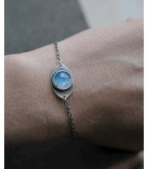 srebrna bransoletka z kamieniem księżycowyn