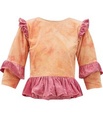 alma tie-dye ruffled cotton-corduroy top