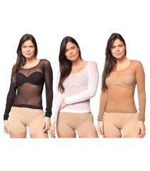 kit 3 camisas selene segunda pele modal ml feminina - preto/branco/nude