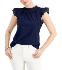 charter club eyelet sleeveless top, created for macy's