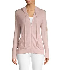 rhinestone embellished cashmere zip-front hoodie