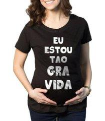 camiseta criativa urbana gestantes - tão grávida engraçadas
