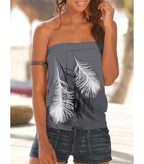 camiseta sin mangas sin tirantes con estampado de plumas gris yoins