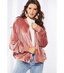 giacca in velluto da donna casual con cerniera a maniche lunghe