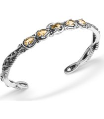 carolyn pollack yellow-orange citrine (1-3/4 ct. t.w.) five stone cuff bracelet in sterling silver