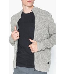 only & sons onsdaniel 5 struc zip cardigan knit tröjor ljus grå