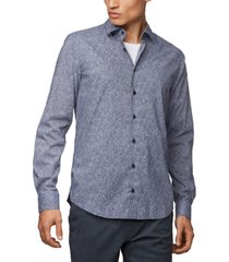 boss men's micro-patterned slim-fit shirt