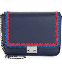 lock scalloped trim leather crossbody bag