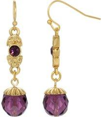 2028 women's gold tone purple crystal drop earring