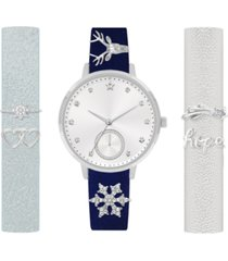 jessica carlyle women's interchangeable strap & charm watch 34mm, gift set