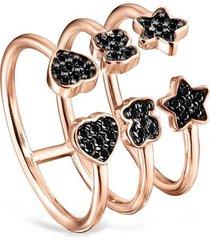 anillo abierto tous motif de oro vermeil rosa con espinelas 914935520