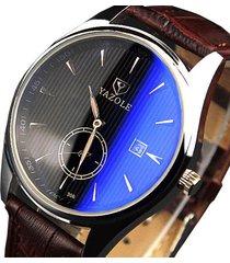 yazole 306 uomo casual orologio a quarzo in pelle di lusso alla moda con calendario