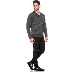 suéter passion tricot jacar losango grafite - kanui