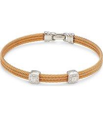 alor women's 18k white gold, stainless steel & diamond cable bracelet