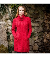 the dunloe aran coat red m