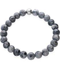 bracciale elastico con pietre e acciaio grigio per uomo