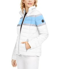 nautica hooded colorblocked water-resistant hooded packable jacket