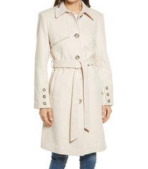 women's sam edelman belted wool blend coat, size 16 - beige
