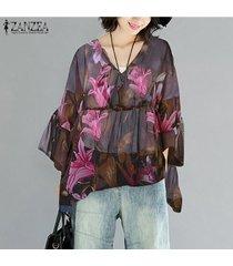 zanzea mujeres largo de la cascada de la manga tapas de la camisa de cuello v suelta la impresión floral de la blusa -rosado