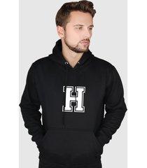 blusa moletom flanelado fechado suffix moleton preto capuz e bolso estampa letra h - preto - masculino - poliã©ster - dafiti