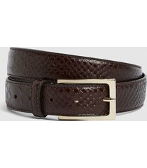 reiss exotic - leather croc patterned belt in brown, mens, size 36