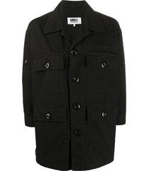 mm6 maison margiela multi pocket shirt jacket - black
