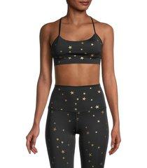 chrldr women's metallic star-print sports bra - black - size s