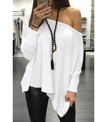 blanco oversize one top de manga larga con hombros