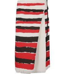 marni stripe print frayed hem skirt